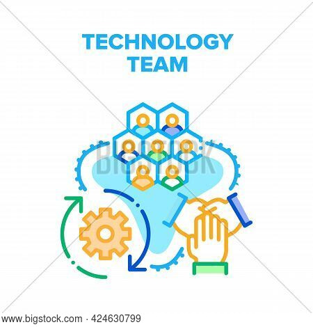 Technology Team Vector Icon Concept. Technology Team Online Conference And Brainstorming, Planning S