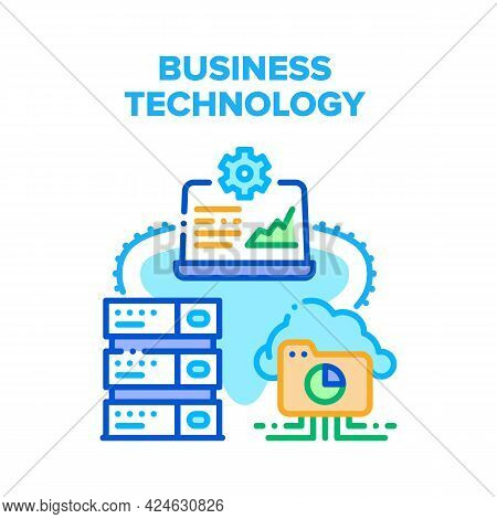 Business Technology Device Vector Icon Concept. Business Technology Device Laptop And Server, Cloud