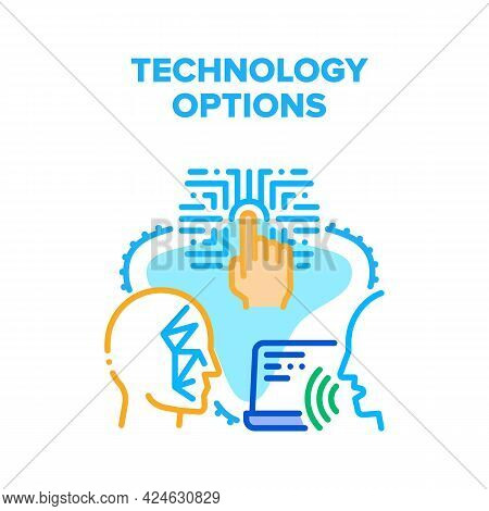 Technology Device Options Vector Icon Concept. Voice Control, Fingerprint Scanning And Face Id Techn