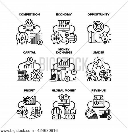 Finance Capital Set Icons Vector Illustrations. Finance Capital And Money Exchange, Global Economy A