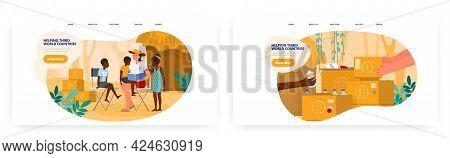 Volunteers Helping Third World Countries. Landing Page Design, Website Banner Vector Templates. Deve