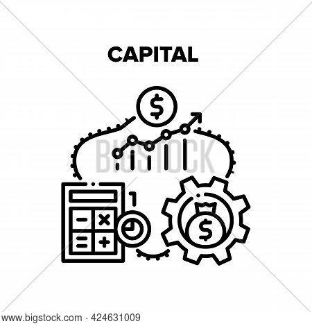 Capital Raising Vector Icon Concept. Capital Raising, Calculating And Accounting, Working Process Fo