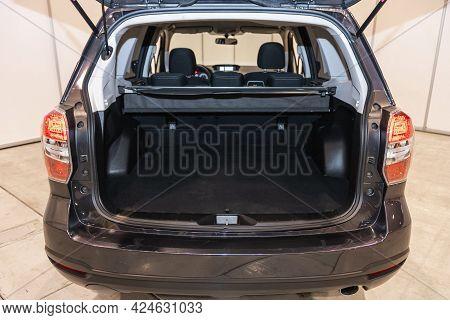 Novosibirsk, Russia - June 22, 2021: Subaru Forester, Big Trunk Open In A Suv Car.
