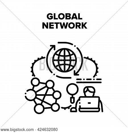 Global Network Vector Icon Concept. Global Network Internet Communication Technology, World Digital