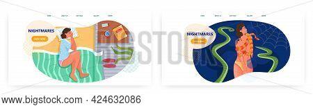 Nightmares Landing Page Design, Website Banner Vector Template Set. Bad Dream, Fear, Anxiety, Despai
