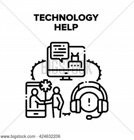 Technology Help Vector Icon Concept. Technology Help And Online Support, Customer Service Worker Ope