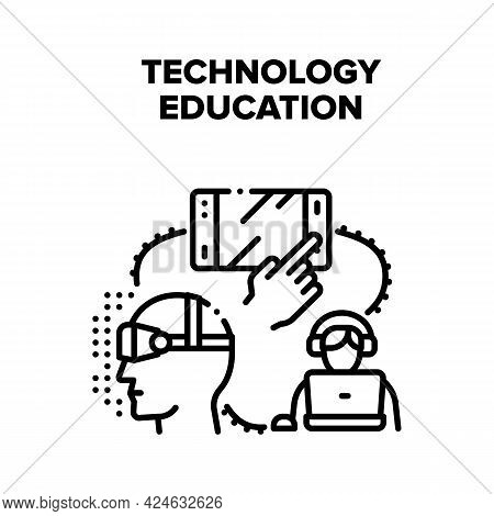 Technology Education Device Vector Icon Concept. Computer And Tablet, Virtual Reality Glasses And E-
