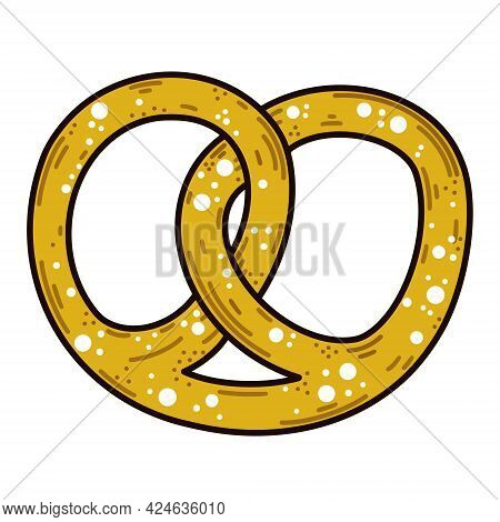 German Pretzel Vector Icon. Isolated Roll On A White Background. Traditional Symbol Of Oktoberfest.