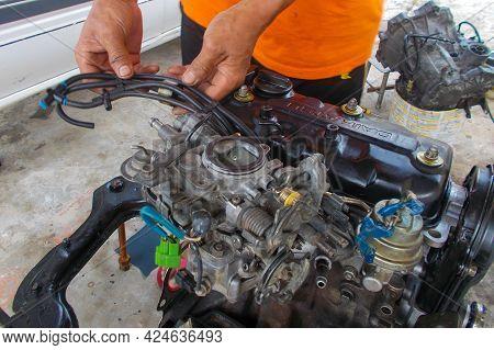 Labuan,malaysia-mac 19,2018:major Repairs Motor Car Engine Of Daihatsu Or Kancil,three Cylinder Fuel