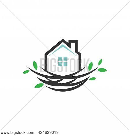 Nest House Logo. Home Icon. Home Nest Sign. House Building Symbol. Best For Building Home Logo Vecto