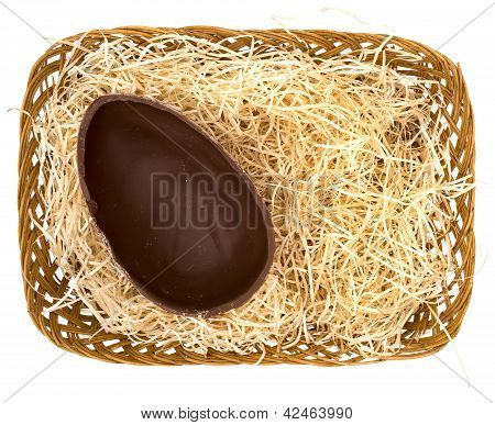 Half Chocolate Easter Egg In Basket - Background