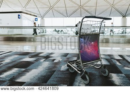 Airport luggage trolley in a passenger terminal