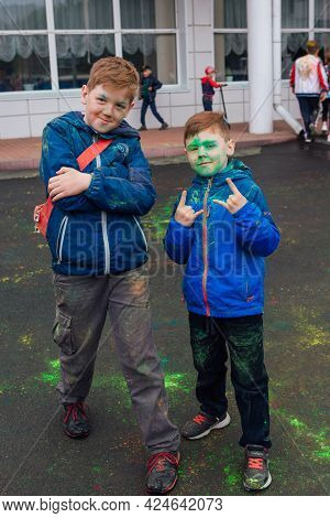 Novokuznetsk, Kemerovo Region, Russia - June 05, 2021 :: Boys With Colorful Faces Painted With Holi