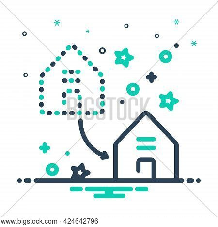 Mix Icon For Displacement Dislocation Home-replace Home Replace Supersede Encroach Property Real-est