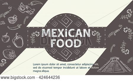 Illustration Sketch For The Design In The Center Of The Circle Is The Inscription Mexican Food, A Py