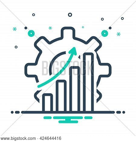 Mix Icon For Efficiently Capacity Productivity Achievement Graph