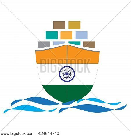 Concept Design Cargo Ship With India Flag. Commercial Vessel Containers Freight Import And Export Ma