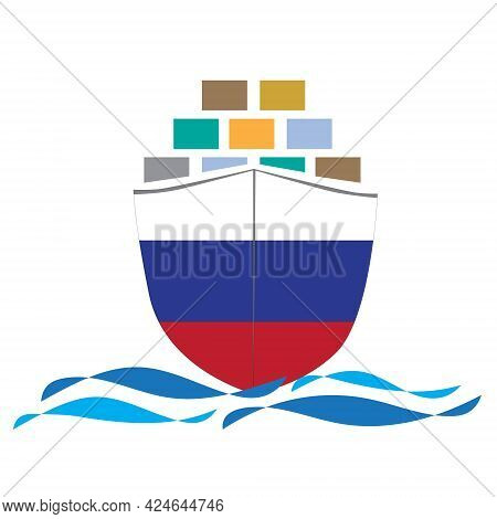 Concept Design Cargo Ship With Russia Flag. Commercial Vessel Containers Freight Import And Export M