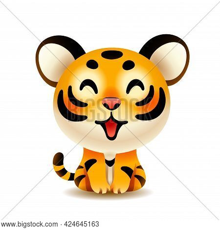 Vector Illustration Of Cute Little Tiger Cub Isolated On White Background.