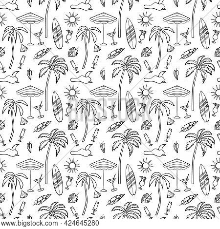 Travel And Vacation Seamless Pattern With Travel Elements. Seamless Pattern For Design, Posters, Bac