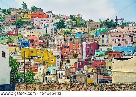 View Of Colorful Houses In Guanajuato City, Guanajuato, Mexico