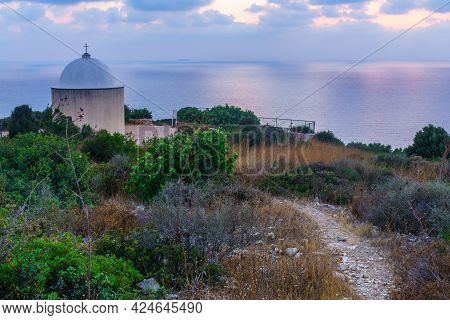 Blue Hour (after Sunset) View Of The Holy Family Chapel, And The Mediterranean Sea, In Haifa, Israel
