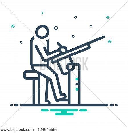 Mix Icon For Draughtsman Man Gun Attack Firing Rifleshot