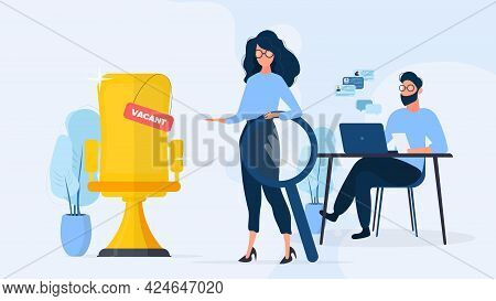 Hr Banner. Stylish Girl With Glasses. The Girl Holds A Magnifier In Her Hands And Shows A Vacant Pla