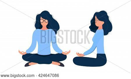 The Girl Is Meditating. Front And Side View. Isolated On A White Background. Vector.