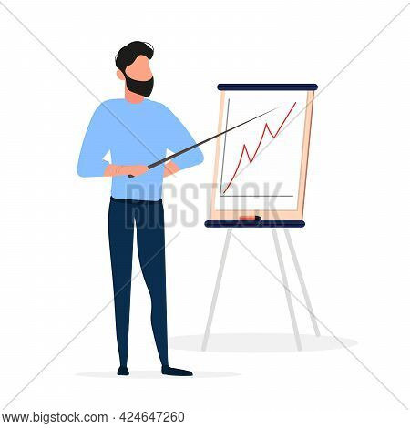 The Man Gives An Idea. The Guy Shows A Report With Positive Dynamics. Board For Paper. Infographics.