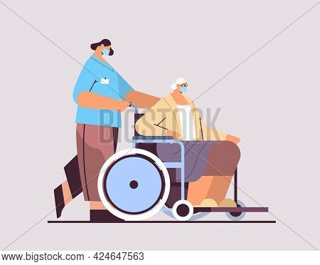 Helper Taking Care Of Senior Disabled Patient Nurse Pushing Wheelchair Care Service Concept