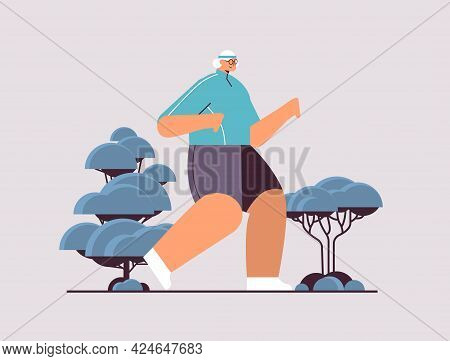 Old Woman Running Senior Pensioner Doing Physical Exercises Outdoors Activity And Sport Fitness Heal