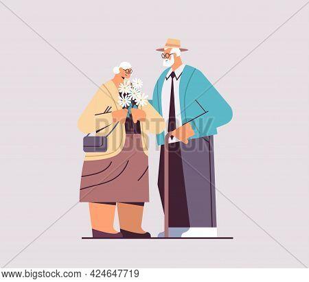 Senior Couple Standing Together Grandparents Spending Time Together Horizontal Full Length