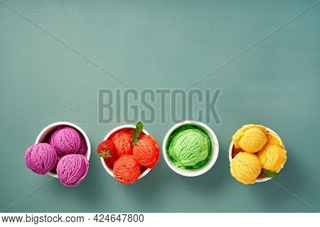 Gourmet Flavours Of Italian Ice Cream In Vibrant Colors Served In Individual Ice Cream Paper Cups On