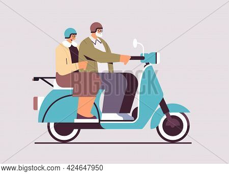 Senior Couple In Helmets Driving Scooter Grandparents Traveling On Moped Active Old Age Concept