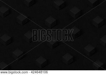 3D black paper craft cubic patterned background