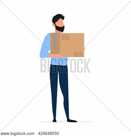 The Guy Is Holding A Cardboard Box. The Guy With The Box Is Isolated On A White Background. Vector.