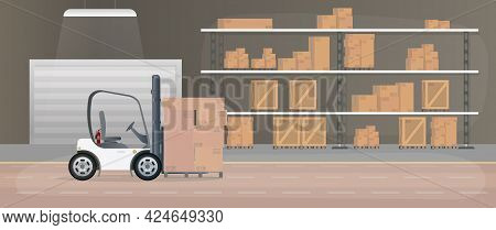 Large Warehouse With Drawers. A Forklift Lifts A Pallet With Boxes. Industrial Forklift. Rack With D