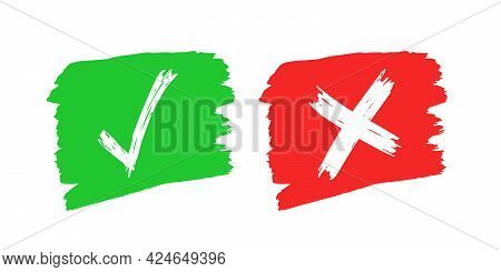 Hand Drawn Check And Cross Sign Elements Isolated On White Background. Grunge Doodle Green Checkmark