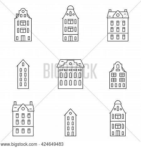 Set Of Outline Old Historical Buildings. Simple Seamless Pattern With European Holland Houses. Vecto