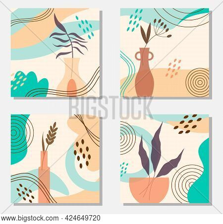 A Set Of Square Cards With An Abstract Pattern Of Spots. Vases With Plants. Vector Illustration. Tem