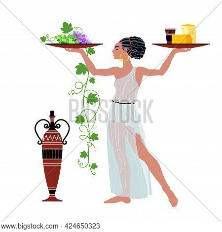 A Pretty Woman In An Ancient Greek Tunic Carries Wine With Cheese And Grapes, Beautiful Waitress, Fo