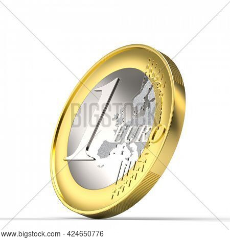 euro coin 3d render on white background