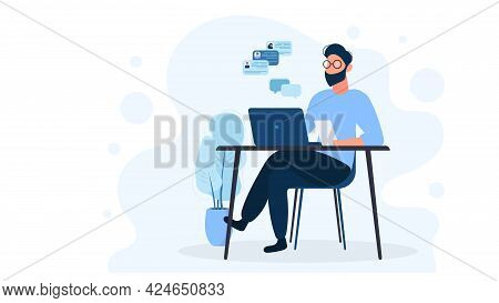 A Man Works On A Laptop. The Guy Is Sitting At The Table With A Laptop. Flat Style. Good For Image W