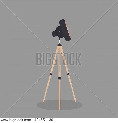 Decorative Floor Lamp Tripod Original Sample Model With Black Silk Shade And Solid Wood Legs. For Lo