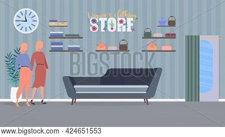 Women's Clothing Store. Dresses, Bags, Women's Clothing, Shop. Vector Illustration.