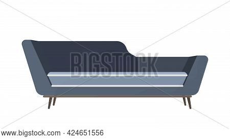 Modern Dark Blue Sofa. The Sofa Is Isolated On A White Background. Element For Interior Design. Pro