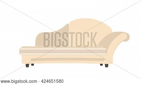 Modern Beige Sofa. The Sofa Is Isolated On A White Background. Interior Design Element. About The St