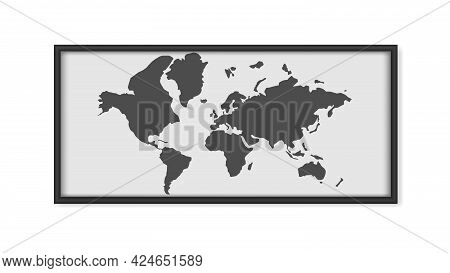 Painting With A World Map Isolated On A White Background. Painting With Black Frames. Map Outline. V