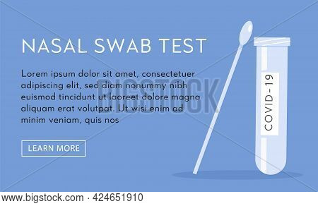 Vector Horizontal Banner Template For Nasal Swab Laboratory Analysis With Place For Text. Covid-19 P